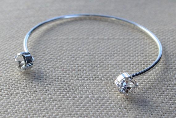 Swarovski Crystal Open Bangle Bracelets - silver