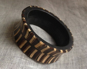 Vintage Boho Gypsy Nepal Thick Wooden Bangle with Accent Wood Inserts