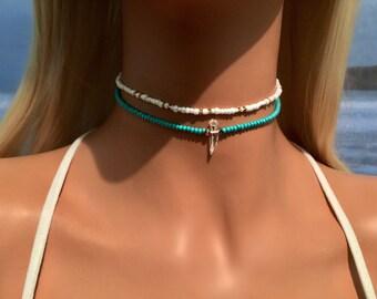 Turquoise Choker - Crystal Choker - Beaded Choker - Boho Choker Necklace - Bohemian Necklace