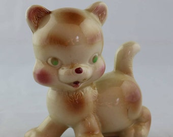 Adorable Green-eyed Brown and Beige Ceramic Kitty