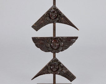 REDUCED 19th Century Architectural Carved Wood Angel Faces on Iron Museum Stand [5400]