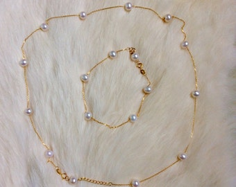 Solid gold 18k necklace with real pearls free shipping, thin chain