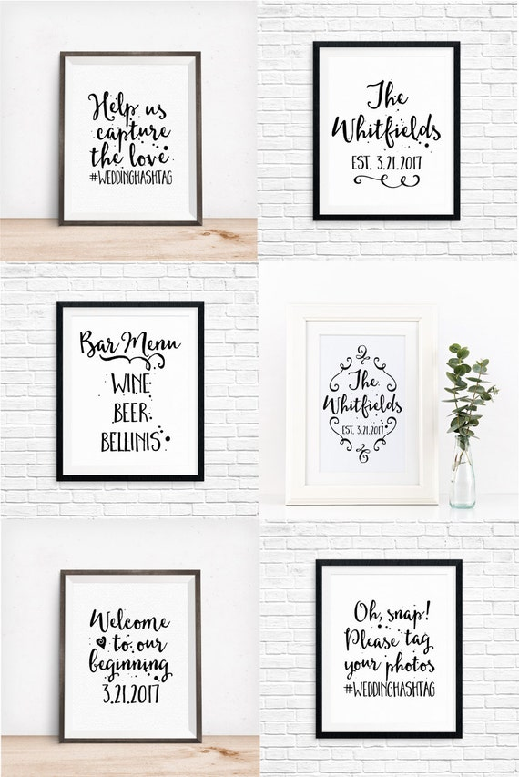 Bundle: 15 Custom Printable Wedding Signs, Signs for Your Wedding, Includes Customization, DIY, Table Decorations, Digital Download Prints