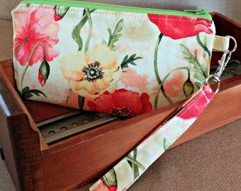 Poppy Wristlet - Watercolor - Modern - On Sale - Clutch - Wallet - Everyday Geeky - OOAK - Custom Made