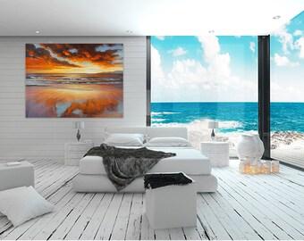 "Beach Painting Large 36""x48"" Canvas Horizontal Seascape Original Ocean Shore Wall Art Orange Acrylic Clouds Handmade Coastal Decoration"