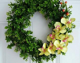 Summer wreath tropical wreath coastal wreath boxwood wreath orchid wreath grapevine wreath beach wedding wreath floral wreath