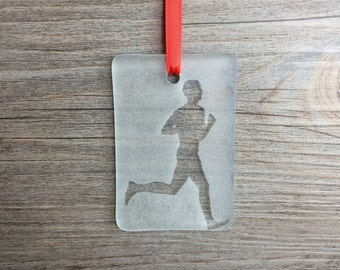 Male Runner Fused Glass Christmas Ornament/Sun Catcher; Running, Track & Field, Cross Country