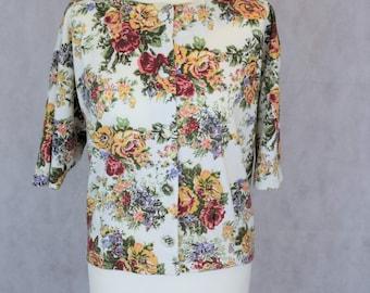 Vintage Flower Print Blouse, Kawaii Clothing, Kawaii, Vintage Clothing, Clothing, Women's Clothing, Women's Blouses, Vintage, Blouse