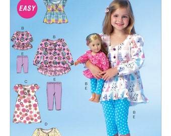"""Sewing Pattern for Matching Casual Tops--Leggings for Girls / 18"""" Doll, McCall's Pattern 7043, Easy Sew Pattern, Dollie & Me, Sleepwear"""