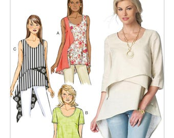 Sewing Pattern for Misses' Asymmetrical-Hem Tops and Tunics Tops, Butterick Pattern 6172, Plus Sizes Available, Sleeve Options, Scoop Neck