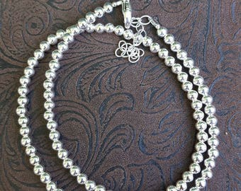 4mm Smooth, Shiny, Round Ball Sterling Silver Beaded Necklace - Adjust. Length, All 4mm Smooth, Shiny, Sterling Silver Ball Beaded Necklace