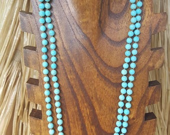 """60"""" 6mm Long Matte Turquoise Magnesite Gemstone Necklace, Extra Long Turquoise Gemstone Necklace, 60"""" Long Turquoise Knotted Necklace"""