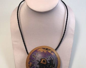 Galaxy Explosion Medallion Necklace - Polymer Clay Pendant and Braided Cord