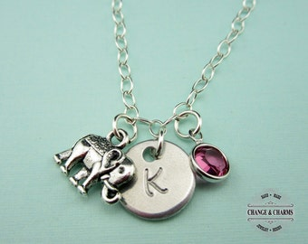 Custom Elephant Charm Necklace, Elephant Charm, Elephant Necklace, Elephant Jewelry,Sterling Silver,Swarovski Birthstone,Personalized,CAN010