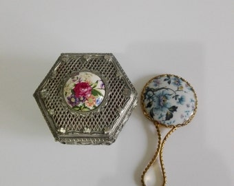 Jewelry box, hand mirror, french vintage, french porcelain, silver plated, shabby chic, box, vintage porcelain, vintage mirror, metal box.