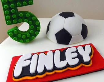 Soccer/football cake topper personalised sugar paste edible,shipping from UK