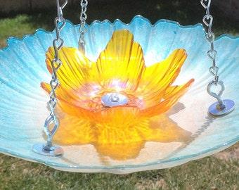 Hanging Light Blue Bird Feeder With Yellowish Center, Retirement Gifts For Men & Women, Hanging Yard Decor, Hanging Porch Decor,