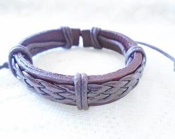 Brown leather boy bracelet, Braided leather children bracelet