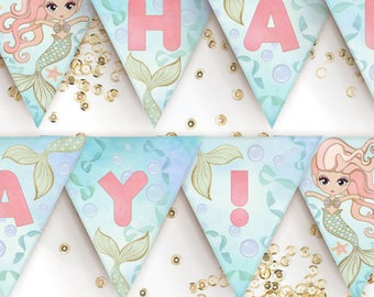 Mermaid Birthday Banner / Printable Mermaid Flag Bunting / Mermaid Birthday Party Decorations [Pennant Banner]