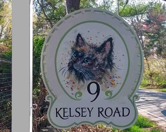 Address Sign, Hand Painted Sign, Hanging Sign, Wooden Sign