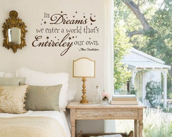 Harry Potter Wall Decal, In Dreams we enter a World Quote, Vinyl Letters, Multiple Colors