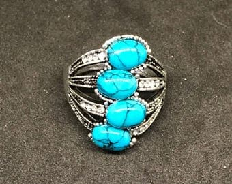 Man-made Blue Small Multi Turquoise Stone and Silver-plated Ornate Fashion Ring w White Crystal Embellishments
