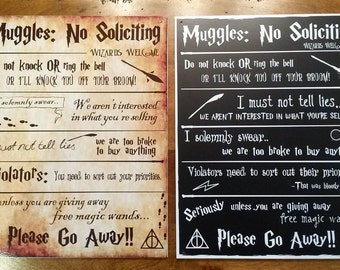 Harry Potter No Soliciting Sign - 2 Options Available