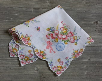 Vintage Hankerchief, Blue Wagons, Pastel Flowers, Gift for Her