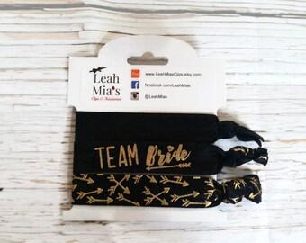 Arrow 'Team Bride' Bachelorette Hair Tie Set, Gold & Black Bridesmaid Hair Tie Set, Bachelorette Favours, Bachelorette Party Favors