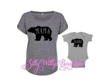 mama and baby shirts, new mom shirt, baby bear shirt, mama bear shirt, baby shower gift, baby bear shirt, mama bear, baby bear bodysuit
