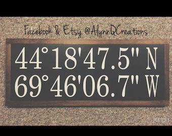 Custom Framed DMS Coordinates Wood Sign - Perfect for a Wedding - Anniversary - House Warming - Birthday - Holiday