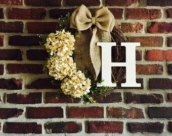 Monogram Wreath-Rustic Wreath-Spring Wreath-Front Door Wreath--Summer Wreath-Hydrangea Wreath-Initial Wreath-Door Wreath-Rustic Decor