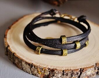 Hand-cut black leather wrap bracelet