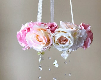 Baby mobile, Flower mobile, Genuine Swarovski crystals / Crib mobile, Vintage inspired, Wedding chandelier, Baby mobile hanging