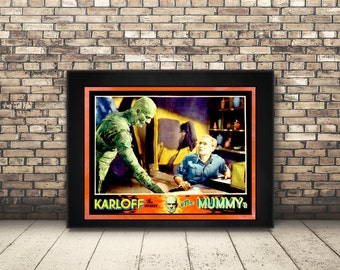 High Resolution Digital Poster from a Vintage Ad for the Mummy in Boris Karloff's B Movie. Wall Art or Home Decor for Horror Movie Lover.