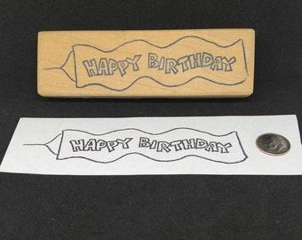 Flying Banner Happy Birthday rubber stamp
