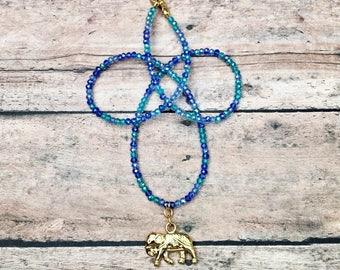 Emma | Gold Elephant Necklace, Blue Elephant Necklace