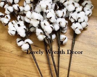 5  Cotton boll branches ,cotton boll stalks , faux cotton boll , wedding cotton bolls , Cotton sprays ,country rustic