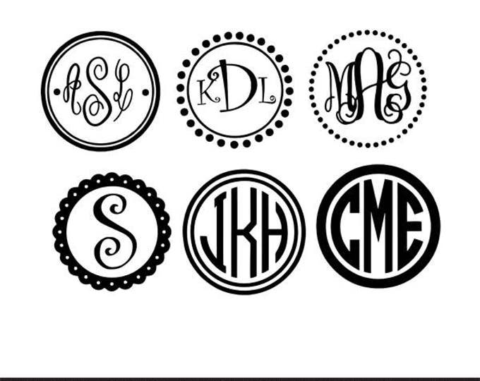Featured listing image: circle monogram frames with 10+ monograms svg dxf file instant download silhouette cameo cricut clip art commercial use