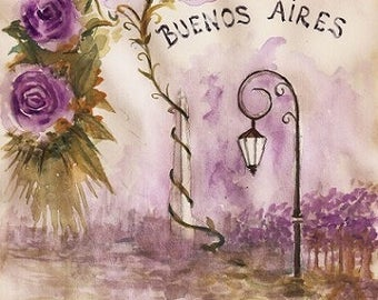 Postal Buenos Aires ancient art for download. Print handmade watercolor illustration