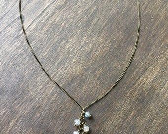Labradorite Beaded Drop Necklace, Bohemian Beaded Necklace, Y-shaped Necklace, Labradorite Necklace, Lariat Necklace, Jewelry Under 50