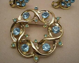 Vintage AquaMarine GemStone Jewelry Set