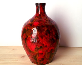 red mottled vase