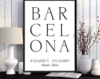 Barcelona Poster, Barcelona print, Wall Art decor, Barcelona city print, City poster, Barcelona printable, Typography print