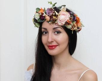 Pale pink lilac orange rose eucalyptus flower crown Bridal hair wreath Wedding halo Flower headband Boho floral crown Boho wedding