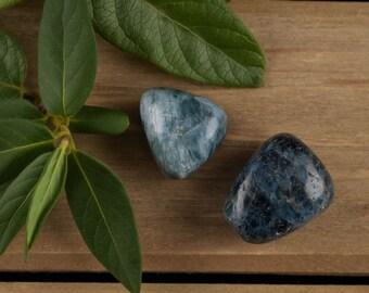 Two Blue APATITE Tumbled Stones - Polished Stones, Healing Crystals, Healing Stone, Polished Apatite, Tumbled Apatite, Raw Apatite E0147