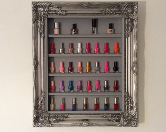 Nail Polish Rack Ornate silver frame display