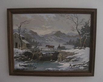 """Winter Logging, Paint By Number, Framed, 21"""" x 27"""", Vintage"""