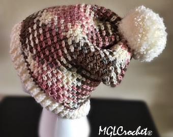 Plaid Pink Pom Pom Hat | Argyle Hat | Planned Pooling | Crochet Hat | Warm Winter Hat | Slightly Slouchy