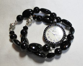 Black Glass Beaded Beaded Watch and Bracelet Set with Magnetic Clasp